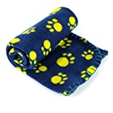 LUXMO® Pet Dog Cat Puppy Kitten Soft Blanket Doggy Warm Bed Mat Paw Print Cushion (Blue)