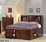 King Size Bookcase Chest Bed in Brown Finish
