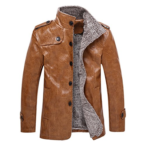 Real Spark(TM) Men's Casual Winter Slim Brown PU Leather Faux Fur Lined Coat Jacket X-Large