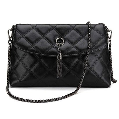 Bagerly-Women-Fashion-Clutch-Crossbody-Quilted-Handbag-with-Chain-Strap