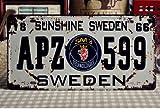 アンティーク風 サビ感が ステキな ブリキ ナンバープレート スウェーデン 599 レトロ