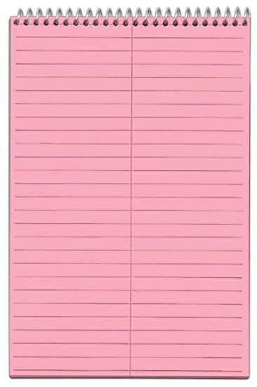 TOPS 80254 Prism 6x9 Gregg Ruled Steno Notebook, 80 Perforated Pink Sheets/Book, 4 Books/pk