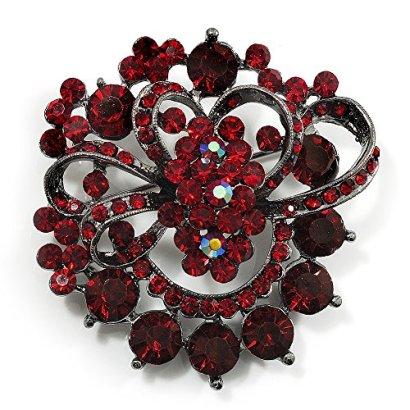 Burgundy-Red-Diamante-Corsage-Brooch-Black-Tone