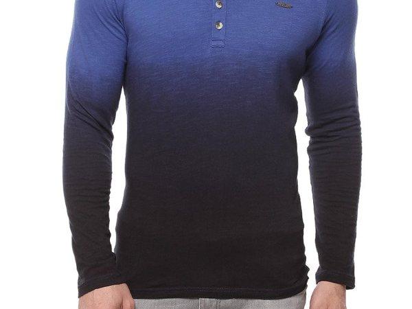 Gritstones Royal Blue Full Sleeve Henley Round Neck T Shirt GSFSHNLYOMB1123RBLU