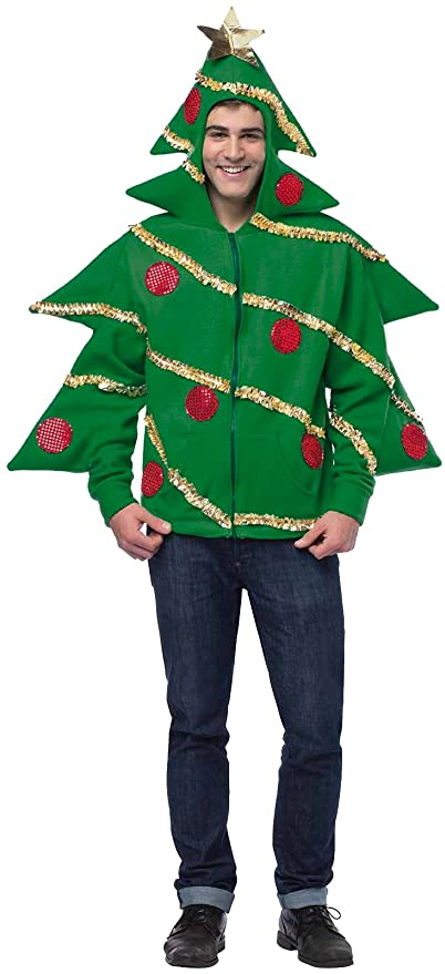 Men's Decorated Christmas Tree Hoodie (S/M)