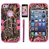 XYUN 3-pieces Straw Grass Mossy Camo Hybrid Hard Silicone Cover Case for Iphone 5c with Free Screen Protector and Stylus (Rose)