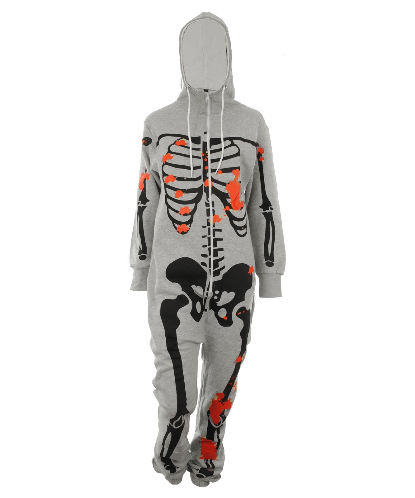 Gracious Girl Women's Valor Skeleton Blood Stained Hooded Zipped Jumpsuit Onesie