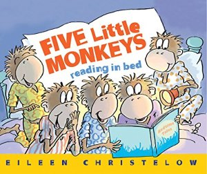 Five Little Monkeys Reading in Bed (A Five Little Monkeys Story) by Eileen Christelow | Featured Book of the Day | wearewordnerds.com