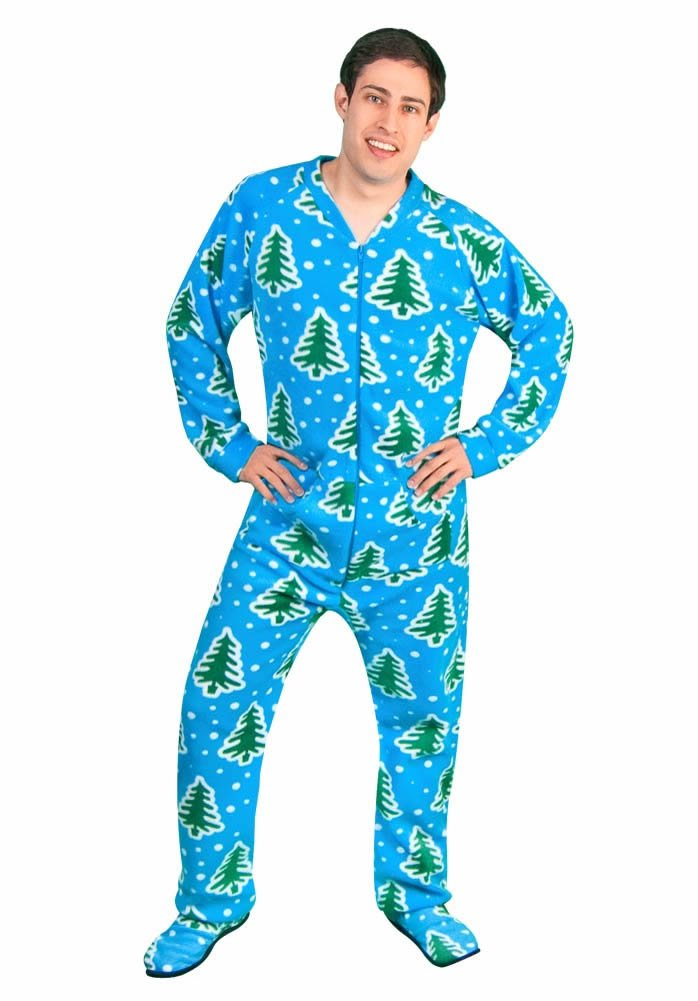 Adult Footed Pajamas Christmas Trees Holiday Winter Design with Drop Seat Butt Flap Pine Trees