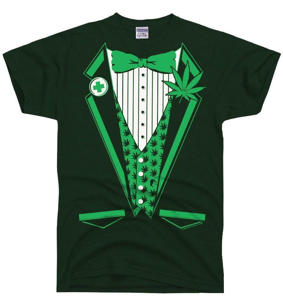 DirtyRagz Men's Marijuana Weed Legalize Medical Tuxedo Tux T Shirt