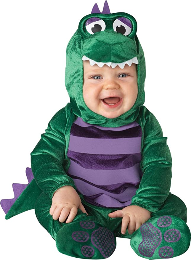 InCharacter Costumes Baby's Dinky Dino Dinosaur Costume, Green/Purple, Large