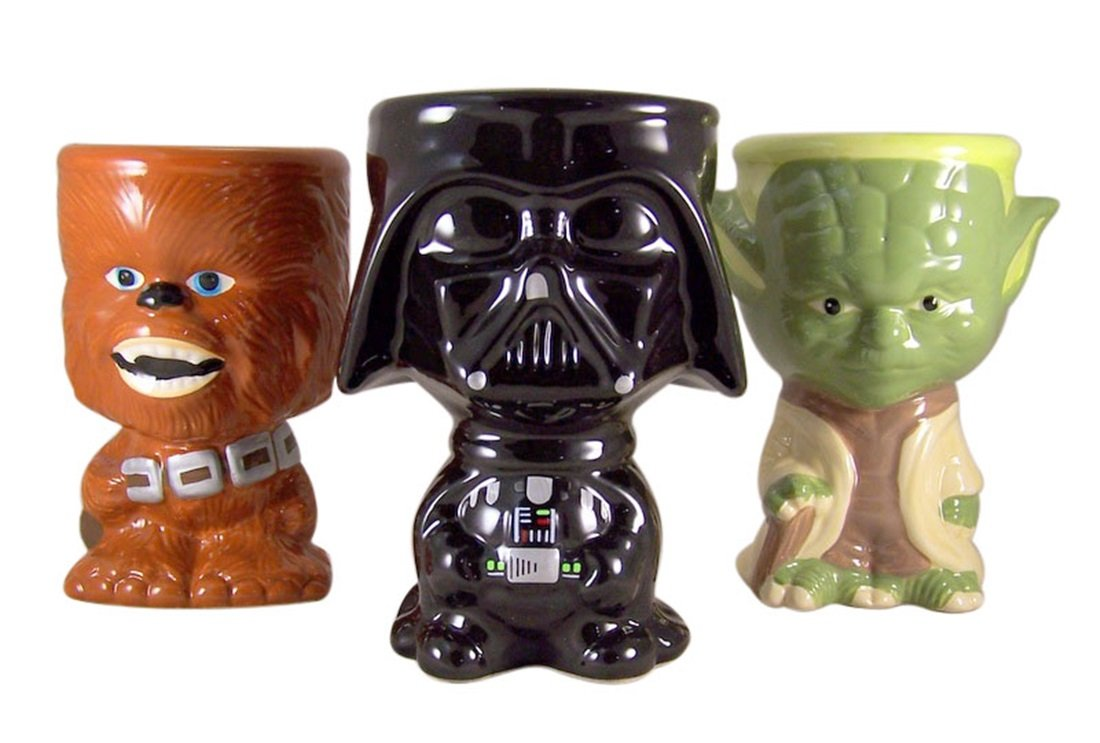 Gift Set of 3 Darth Vader Chewbacca and Yoda 10 Ounce Drink Mug Goblet