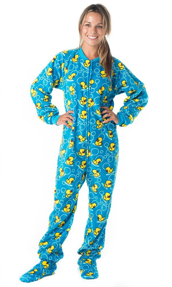 Footed Pajamas Splish Splash Blue Adult Fleece