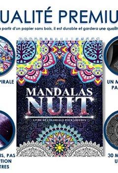 Livres Couvertures de Coloriage Adulte Mandala de Nuit Anti-Stress: Le Premier Cahier de Coloriage Mandala avec Papier Noir Artiste et Reliure Spirale par Colorya