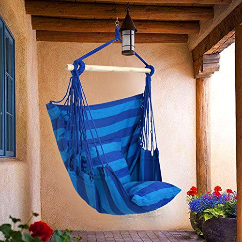 Zeny® Blue Hanging Rope Chair Porch Swing Seat Patio Camping Max. 265 Lbs (Blue, 1)