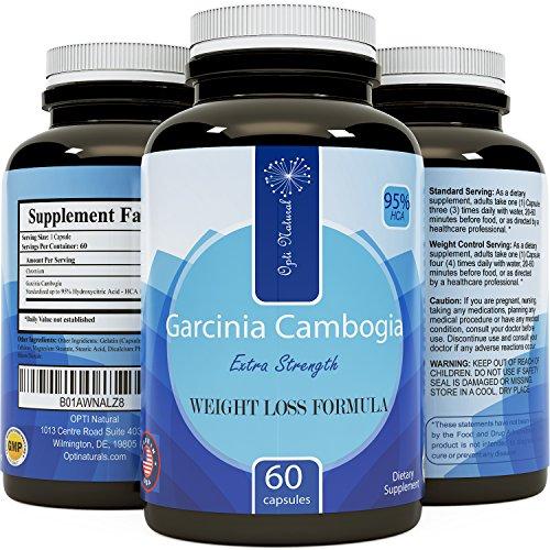 Garcinia Cambogia - Premium Hydroxycitric Acid - Thermogenic Formula Best appetite suppressant - 60 Fast Acting Capsules - Best Male & Female Weight loss pills - Opti Naturals