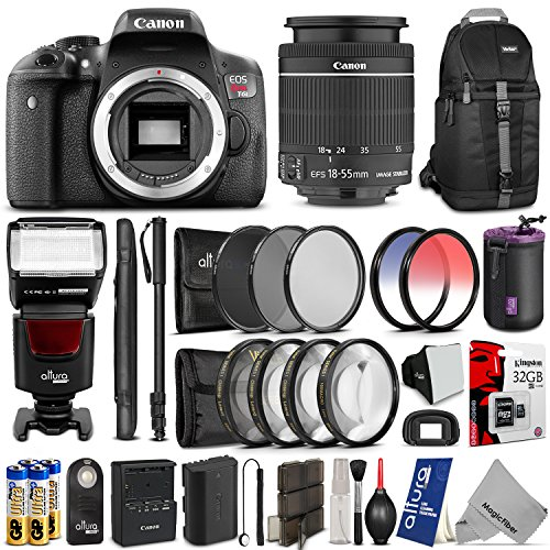 Canon EOS Rebel T6i Digital SLR Camera + EF-S 18-55mm f/3.5-5.6 IS STM Zoom Lens w/ Advanced Bundle - Includes: Flash, Backpack, Monopod, Filter Kit, Macro Set, 32GB SD Memory, Control, Cleaning Set.