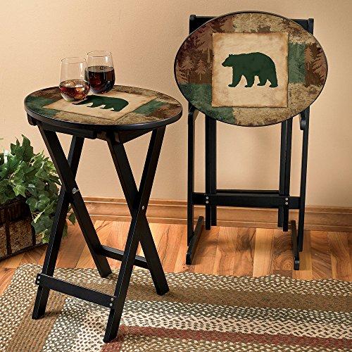 Bear Silhouette Lodge Tray Table Set 3 Pcs Wilderness