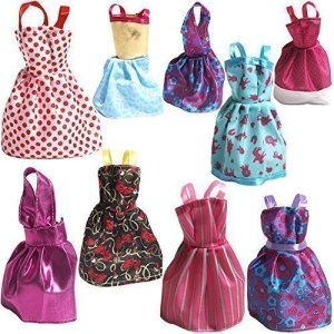 Rainbow-Handmade-Dresses-for-Barbie-Doll-Pack-of-9
