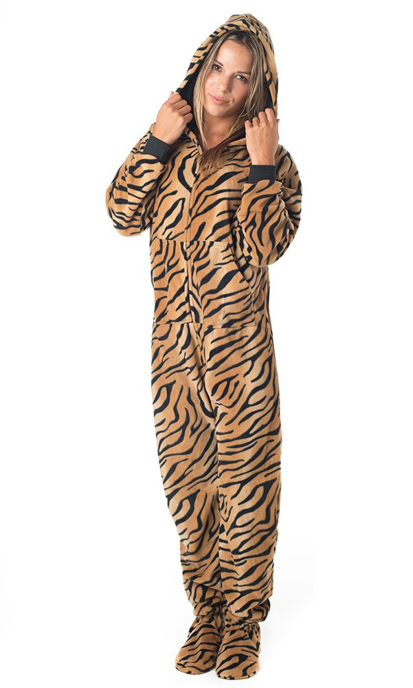 Footed Pajamas Tiger Stripes Adult Hoodie One Piece