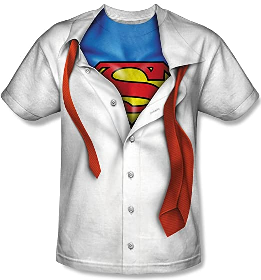 New Official I'm Superman Suit Tie Costume Logo T-Shirt Small white