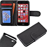 myLife Original Black {Classic Design} Faux Leather (Card, Cash and ID Holder + Magnetic Closing) Slim Wallet for the iPhone 5C Smartphone by Apple (External Textured Synthetic Leather with Magnetic Clip + Internal Secure Snap In Hard Rubberized Bumper Holder)