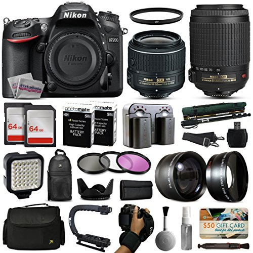 Nikon D7200 DSLR Digital Camera with 18-55mm VR II + 55-200mm VR Lens + 128GB Memory + 2 Batteries + Charger + LED Video Light + Backpack + Case + Filters + Auxiliary Lenses + $50 Gift Card + More!