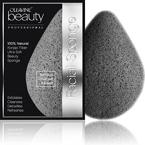 Konjac Sponge - Activated Charcoal - Gentle Exfoliating Facial Sponge - 100% Natural, Teardrop Shape For Cleansing Face and Body, Superior Exfoliation. Boost Effectiveness of Facial Cleaners and All Natural Beauty Products. 100% Money Back Guarantee