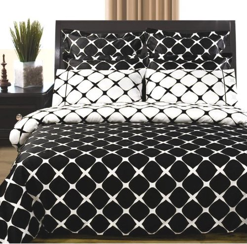 Black and White Egyptian Cotton 9PC Bed in a Bag, Sheet, Duvet & Comforter, Queen