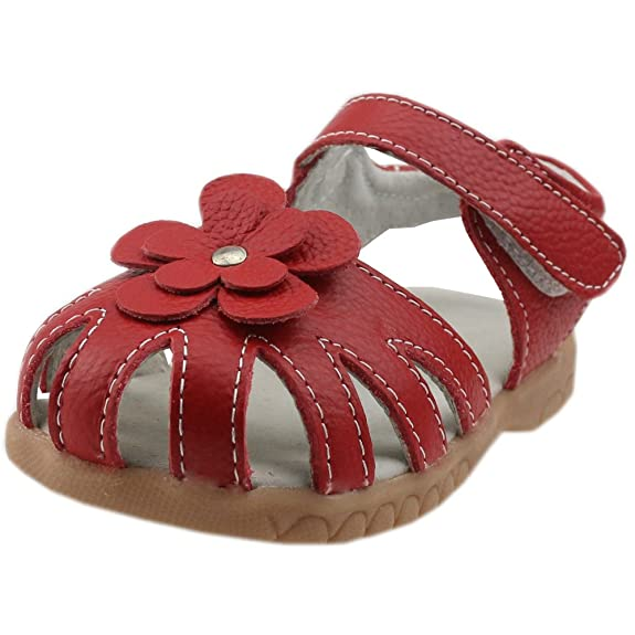 Orgrimmar Girls Genuine Leather Solid Flower Sandals (Toddler, Little Kid) (Toddler 9.5, Red)