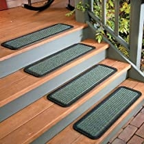 Rubber Back Polypro Stair Tread 30 W Brown Improvements   Stair Treads With Rubber Backing   Ottomanson Softy   Removable Washable   Wood   Slip Resistant   Outdoor Stair