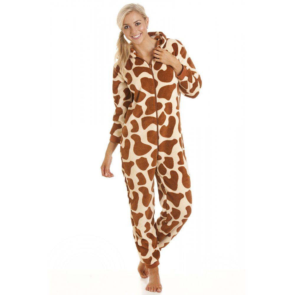 Womens Ladies All In One Onesie Jumpsuit Giraffe Fleece Pajamas 4-18