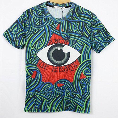GLucky men galaxy tees short sleeve fashion 3d striped print t shirt M L XL. XXL
