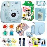 FujiFilm-Instax-Mini-8-Instant-Film-Camera-Blue-Instax-Mini-Film-Twin-Pack-20-Sheets-Blue-PU-leather-Case-Frames-Photo-Album-4-Color-Filters-Selfie-Mirro-And-More-Top-Accessories-Bundle