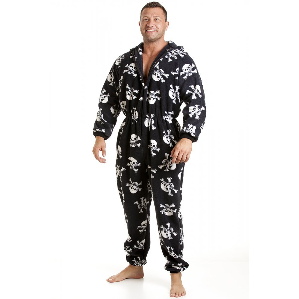 Men's All in One Skull Print Fleece Pyjama Onesie size sm. med, lg, xl, xxl, xxxl