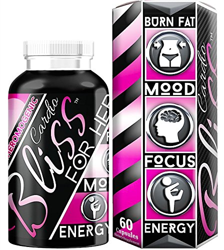 CardioBLISS Female Fat Burner • Weight-loss • Diet-Aid • Jitter-Free Energy • Razor-Sharp Focus • Elevated Mood • Targets Belly Fat • Green Tea Extract • Raspberry Ketones • B Vitamin Complex