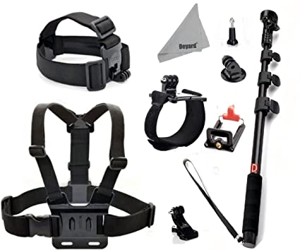 Deyard ZG-634 GoPro Accessories Kit Set of 4 for GoPro Hero4 Session Hero 4 3+ 3 2: Head Strap Mount +Chest Harness with J-hook Mount +Wrist Mount +Extendable Handheld Monopod with Tripod Mount +Flexible Phone Clamp +Thumbscrew +Deyard Fiber Cloth Also for SJ4000 SJ5000+