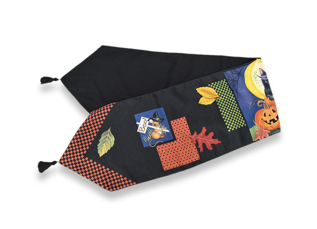 Halloween Moon Cat Fall Leaves Woven Tapestry Lined Tasseled Table Runner 13x72