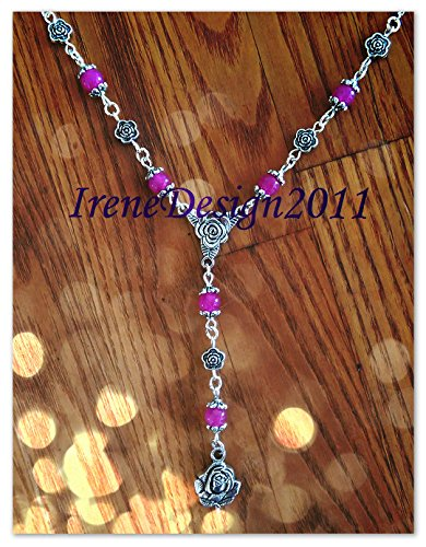 Silver Necklace with Pink Alexandrite & Roses