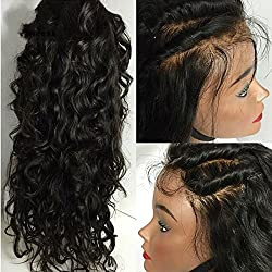 Eva Hair 8a Full Lace Human Hair Wigs for Black Women Brazilian Virgin Hair Water Wave Lace Front Human Hair Wigs Glueless Full Lace Wigs(Lace Front Wigs 16 inch)
