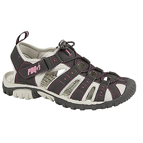 PDQ Womens/Ladies Toggle & Touch Fastening Sports Sandals (5 US) (Black/Pink)