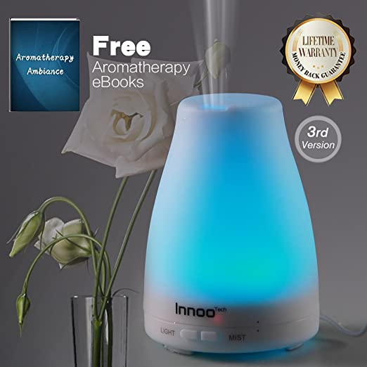 Essential Oil Diffuser, 3rd Version Cool Mist Aroma Humidifier Aromatherapy eBooks Included with Adjustable Mist Mode Waterless Auto Shut-off and 7 Color LED Lights Changing for Bedroom Office Home