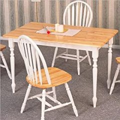 Country Butcher Block Oak and White Finish Wood Dining Table