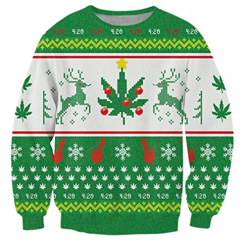 RAISEVERN Green Weed Leaf Printed Casual Long Sleeve Christmas Sweater Shirts