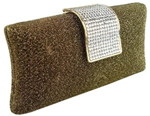 MG Collection Glitter Rhinestone Closure Hard Case Evening Baguette (Gold)
