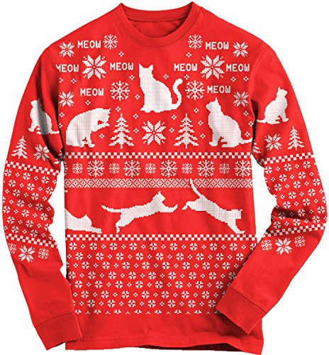 Snowflake Cat Leaping LONG SLEEVE Ugly Christmas Sweater RED-L