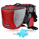 Cade Outdoor Hiking Camping Training Adjustable Dog Saddle-harness Bag Large Capacity Dog Backpack with Reflective Stripe (L, red)