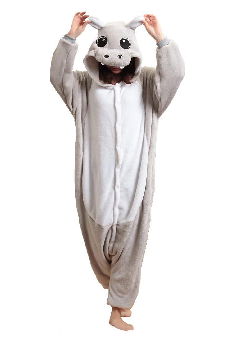 Unisex Flannel Jumpsuit Hippo Anime Cartoon Sleepsuit Pyjama Costume