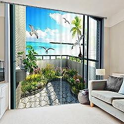 "Beddinginn 2 Panels 3D Scenery Energy Saving Blackout Curtain for Living Room or Bedroom (104W84""L)"