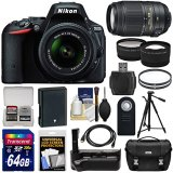 Nikon-D5500-Wi-Fi-Digital-SLR-Camera-18-55mm-G-VR-DX-II-55-300mm-VR-Lens-64GB-Card-Battery-Grip-Case-Tripod-TeleWide-Lens-Kit